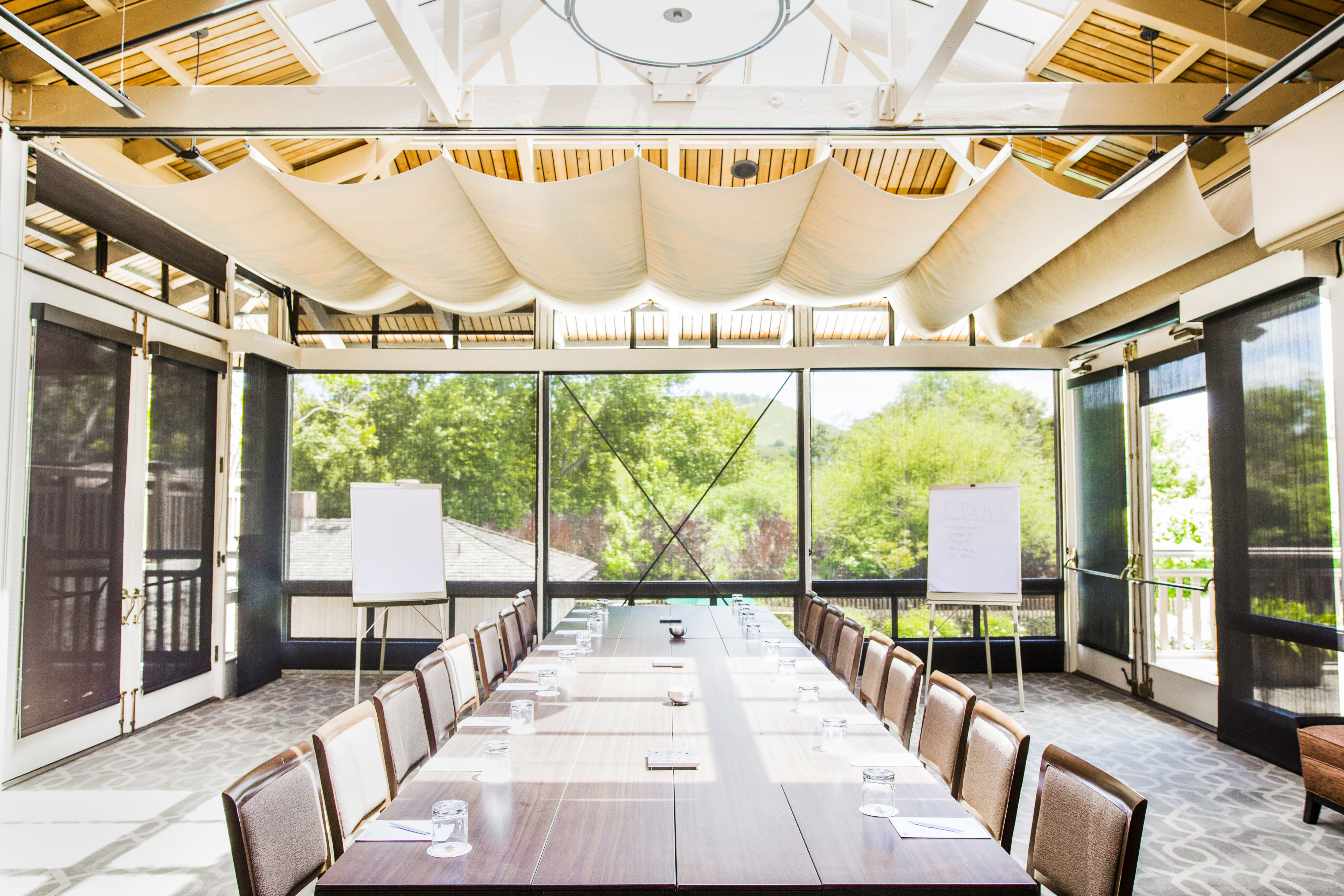 Garden Room board Room Style with Flip Charts and views of Clubhouse Pool